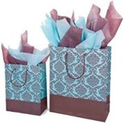 Blue and Brown Metalic Damask Gift Bag